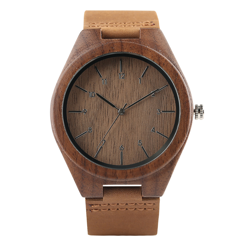 Minimalist Nature Wood Quartz Handmade Cool Casual Genuine Leather Band Creative Wrist Watch Fashion Gift for Men Women simple handmade wooden nature wood bamboo wrist watch men women silicone band rubber strap vertical stripes quartz casual gift page 8