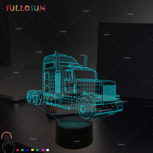 FULLOSUN 3D Optical Truck Car Night Lights Colorful LED Night Lamp Kids Toy Gifts USB Desk Touch Table Lamp as Indoor Decora funny 3d led little racoon night lamp led usb power table lamp as kids room sleeping lights