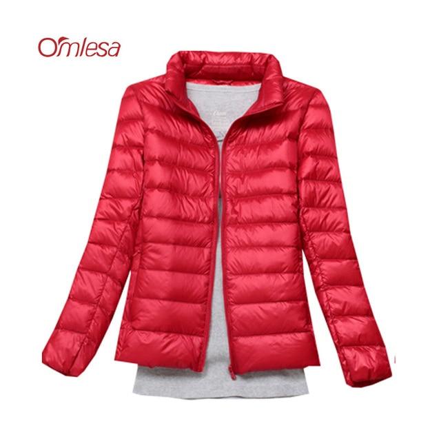 4b902e8eeab79 OMLESA 2017 New Autumn Winter Women Down Jacket Stand Collar Short Slim Thin  Light White Duck Down Outwear large size Coat YQ109