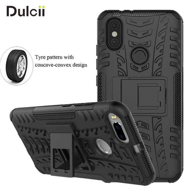 low priced dc275 25d63 US $4.61 |DULCII for Xiaomi Mi A2 A1 Case Xiomi mia2 6X mia1 5X Phone Cover  Kickstand Tyre Pattern 2 in 1 Mobile Phone Shell Funda-in Fitted Cases ...