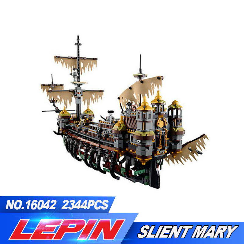 New Lepin 16042 2344Pcs Pirate Ship Series Building Blocks The Slient Mary Set Children Educational Bricks Toys Model Gift 71042 free shipping lepin 2791pcs 16002 pirate ship metal beard s sea cow model building kits blocks bricks toys compatible with 70810