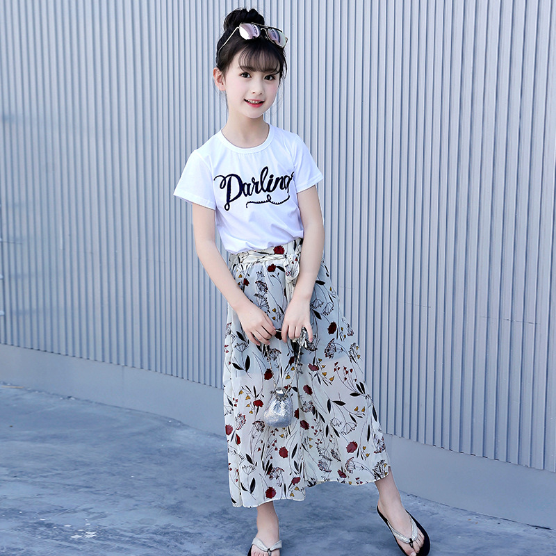 62647bfb697e4 Girls Set Clothes Kids Two Piece Children Summer Suit T-Shirt Chiffon Broad  Legged Pants Outfits 7 8 9 10 11 12 13 14 Years