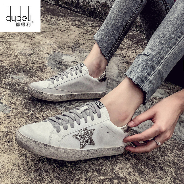 DUDDELI New Women Casual Shoes Glitter Leather Do Old Dirty Shoes Mixed  Color Women Sequins Star Golden Fleeces trainers 9bcbfb706047