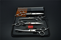 5Pcs Suit 7 19 5cm Kasho Professional Hair Hairdressing Scissors Steel Comb Cutting Thinning UP Down