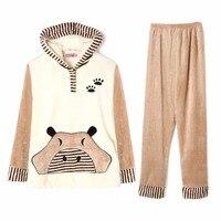Winter Women Pyjamas Sets Thick Warm Coral Velvet Suit Flannel Long Sleeve Female Cartoon Animal Pants