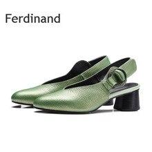 apring red green women high heel shoes women pumps square heel genuine leather slingbacks women's  shoes