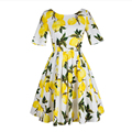 FREE SHIPPING 2016 Summer New Arrival Vintage Elegant Short Sleeve O Neck High Waist Printing Lemon Floral Dress Women SY612501