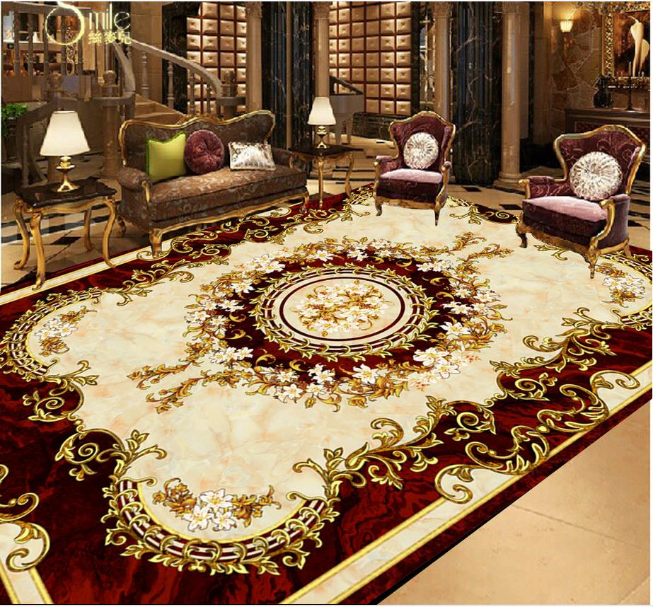 waterproof wall murals European style carpet floor painting pvc floor wallpaper wall 3d wallpaper Home Decoration european 3d wallpaper moroccan style wall stickers waterproof kitchen toilet decoration classical pattern living room murals