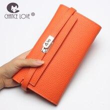Шанс любить 2018 г. новые туфли из натуральной кожи длинный отрезок Дамы кожаный бумажник большой емкости бумажник клатч кошелек orange черный мешок