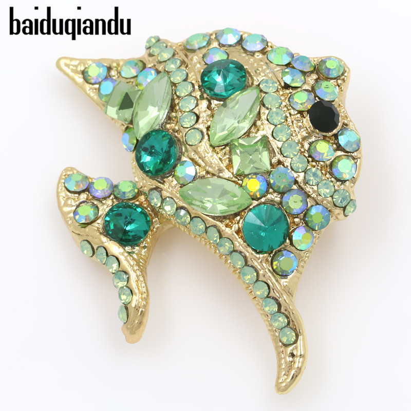 baiduqiandu Зелени и AB Цвят Кристални кристали Цветни плоски риби Брошка щифтове за жени