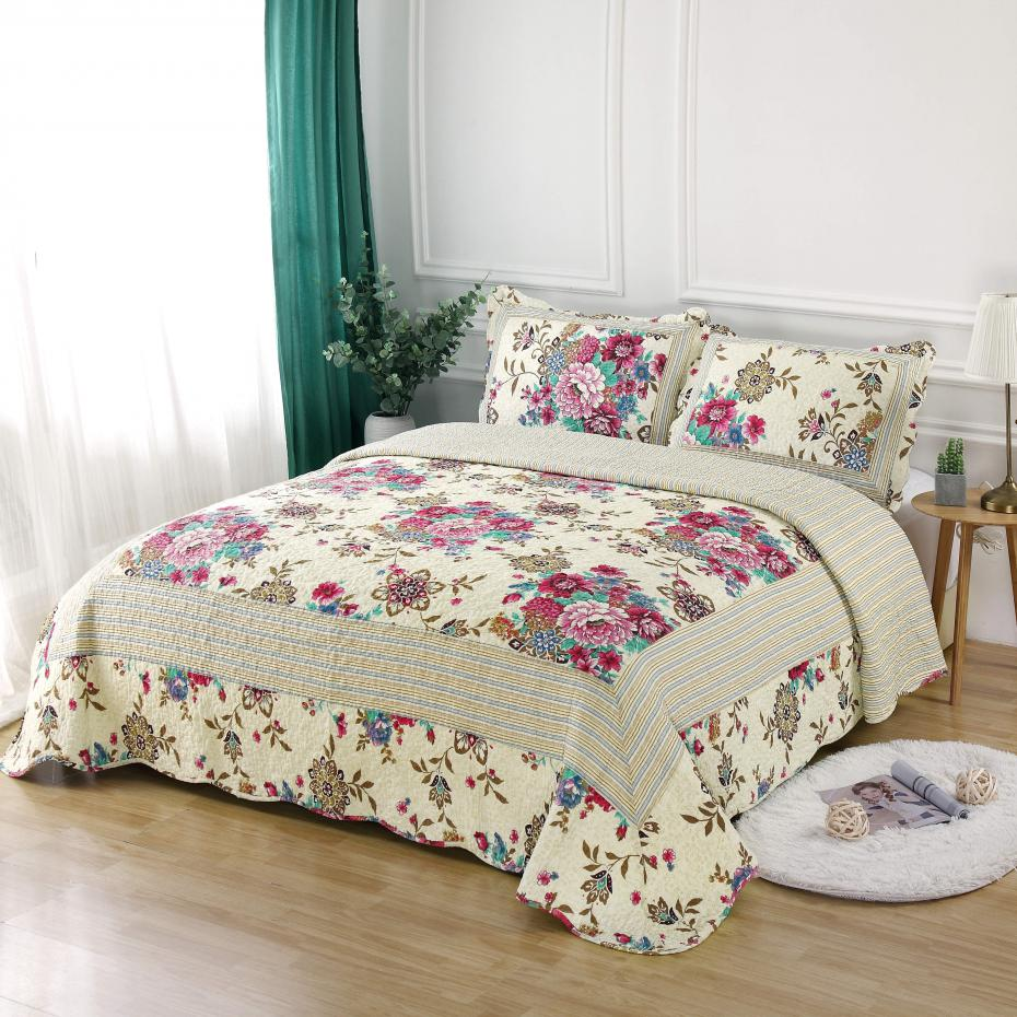 Famvotar 100 Cotton Bedding Quilt Set Luxury Bedroom Bedspread Ruffle Plaid Floral Full queen Size 90