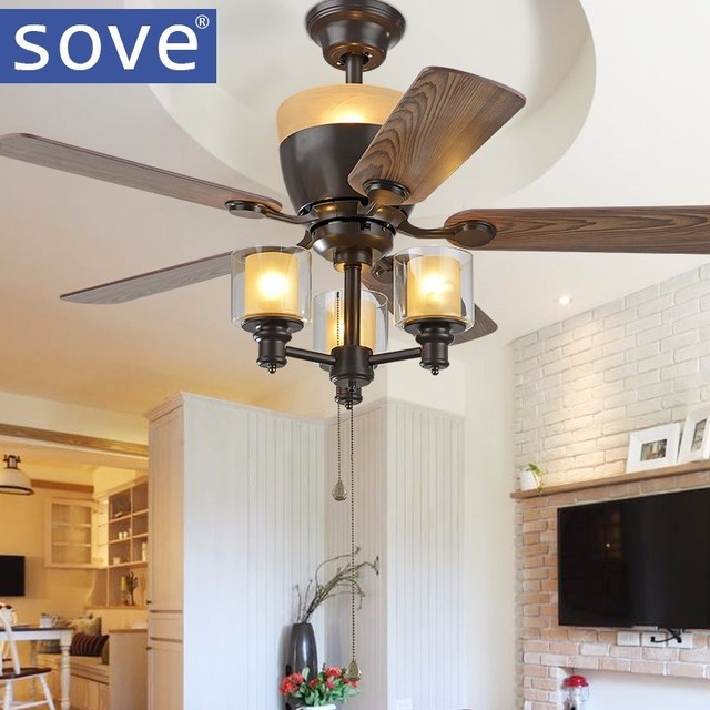 amerikaanse moderne dorp e27 3 zwart plafond ventilator met verlichting afstandsbediening zolder eetkamer lamp thuis