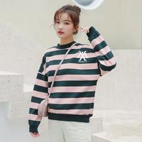 K pop Monsta X Print Sweatshirts Tops Women Hip Hop Oversized Striped Plus velvet Hoodies Swearshirt Schoolgirl Clothes