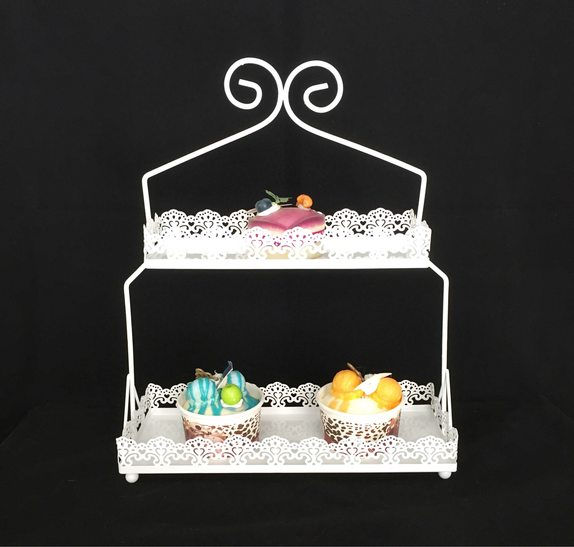Two Layer Tier Metal White Cake Stands Baking Coffee Shop Food Dessert Cupcake Display Tray Lace Wedding Supplies Food Candy
