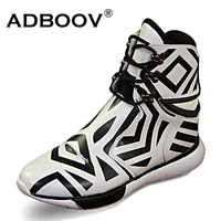 Mens Peculiar Zebra Crossing Model Boots Black And White Color Match Fashion High Top Shoes For