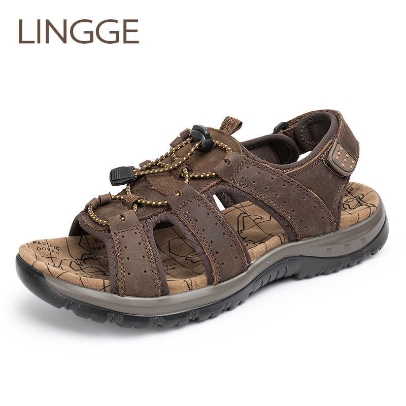 LINGGE Brand Genuine Leather Sandals Summer Men Shoes Large Size Men'S Sandals Rubber Sole Men Shoes Beach Big Size Slippers