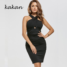 Kakan summer new dress solid color sexy bag hip fashion casual black