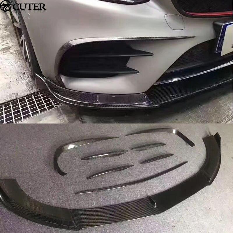 8 шт./компл. W213 кузова Комплект углерода Волокно переднего бампера Air Vent украшения моделирование Накладка для Mercedes-Benz W213 E300 13-16