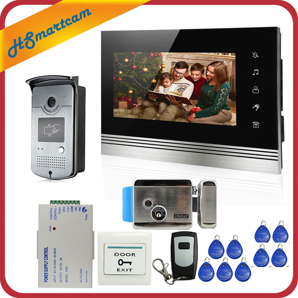 7 inch Video Door Phone Video Intercom System 1 Touch Monitor+RFID Doorbell LED HD Camera Electric Lock In Stock FREE SHIPPING free shipping 7 video intercom video door phone system with 1 monitor 1 rfid card reader hd doorbell camera in stock wholesale