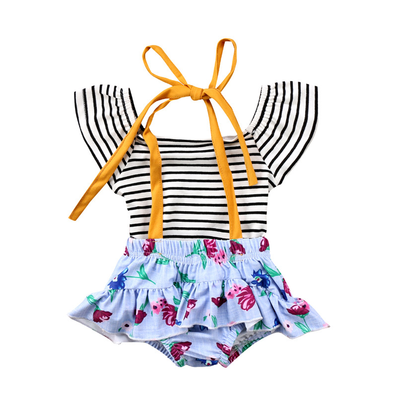 Princess Kids Baby Girl Striped Sleeveless Summer Clothes Sunsuit Todder Girls T-shirt+Floral Ruffles Tutu Shorts Romper 2Pc Set