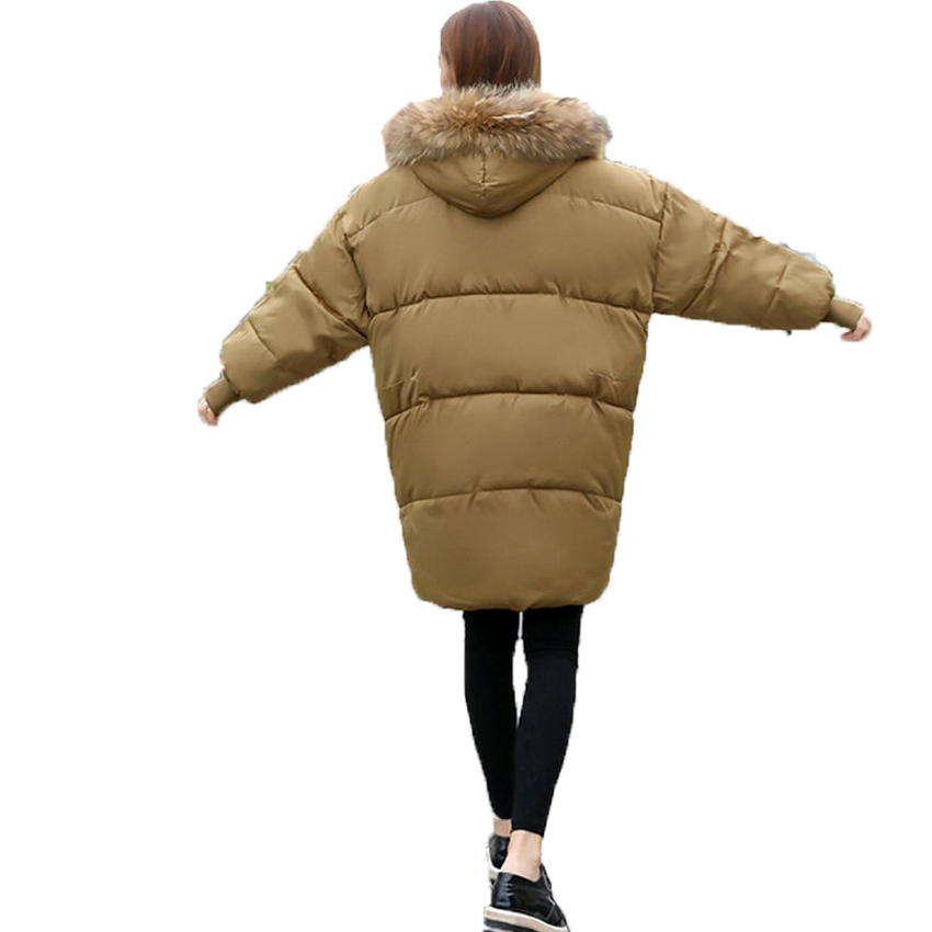 WAEOLSA Women Oversized Puffer Jacket Khaki Black Hooded Puff Coat Woman Winter Basic Coat Girl Fur Hood Quilted Parkas Overcoat pinky is black winter jacket women 2017 five colors hooded coat woman clothes winter jacket with pockets lady top coat hot