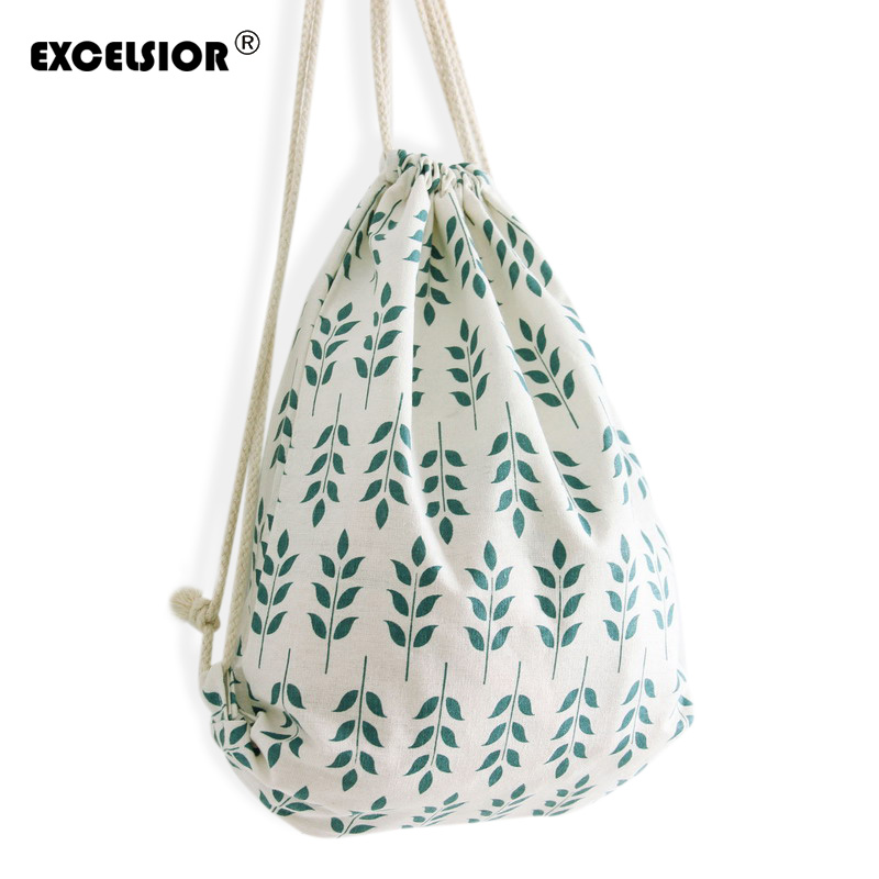 EXCELSIOR Women Casual Drawstring Bag Sackpack Flower Printed Backpack Canvas Travel Bag Beach Bag Girls Ladies School Fresh Bag