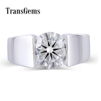 Platinum Plated Silver 3 Carat ct 9mm GH color Round Brilliant Lab Grown Moissanite Diamond Engagement Solitare Ring for Men