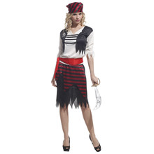 Adult Caribbean Pirates Buccaneer Cosplay Costume for Women Teen Girls Fantasia Halloween Carnival Masquerade Party Dress