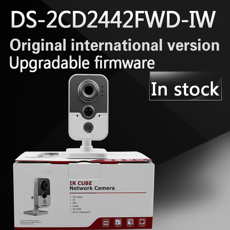 in stock free shipping with DHL English Version DS-2CD2442FWD-IW 4MP IR Cube Network Camera