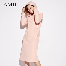 Amii Minimalist Casual Women 2017 Winter Dress Solid   hooded  Knee Length Pocket  Cotton Warm Female Dresses