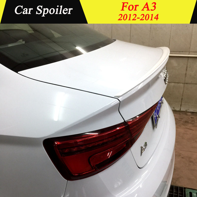For Audi A3 2012 2013 2014 Rear Spoiler High Quality ABS Material Primer Color Car Tail Wing Decoration Trunk Spoiler For A3
