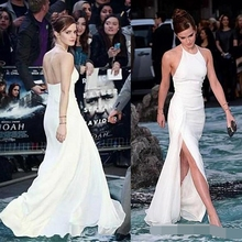 Elegant Halter Neck Backless White Chiffon Side-split Floor-Length Evening Dress 2019 robe de soiree sexy backless Prom dresses