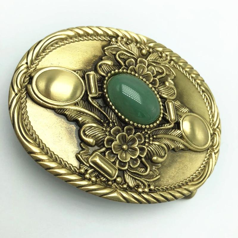 Vintage Antique Pure Brass Copper Big Belt Buckle Big Jade Cowboy Mens Fashion Gift