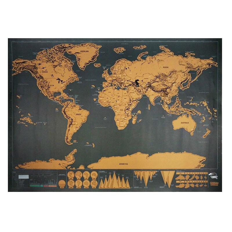 Rasguño mapa 82,5x59,5 cm lujo viajero rascar personalizada Mapa mundi póster Vintage negro etiqueta de la pared decoración