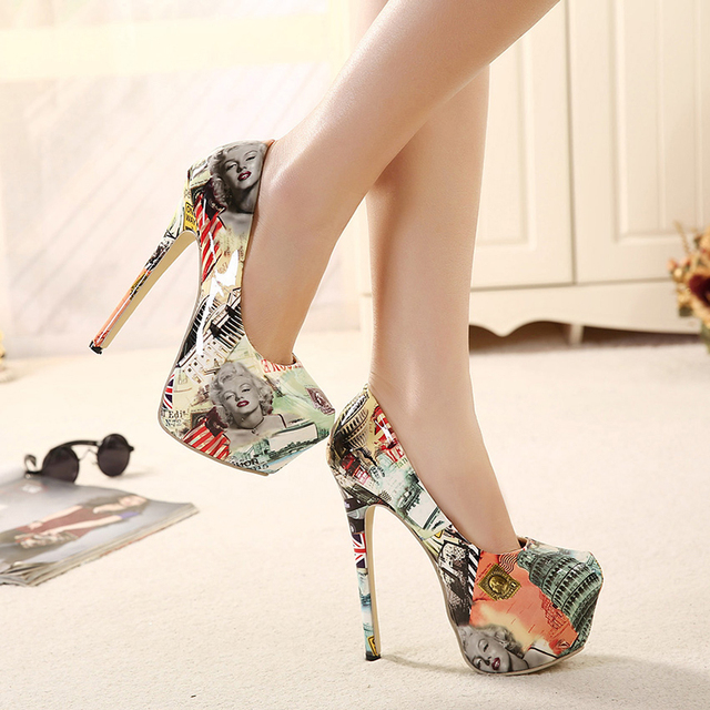 Pumps Nightclub White Charms Floral Print Slip On Ultra Super Club Sexy Work Womens High Heel Shoes 16cm Heeled Women Stilettos