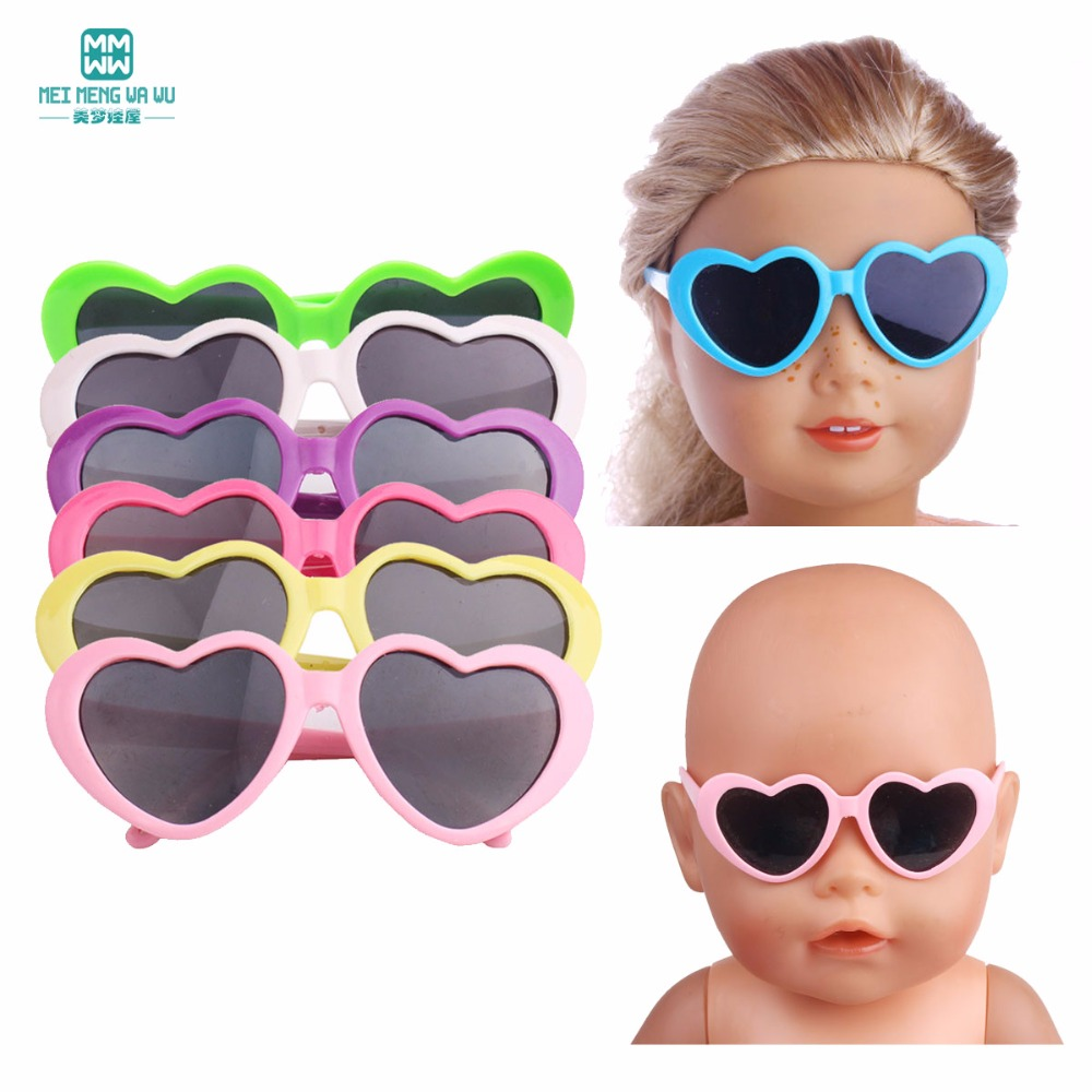 1pcs Mini Glasses For 43cm New Born Doll Accessories And American Doll Baby Plastic Heart Flower Sunglasses Multiple Colour
