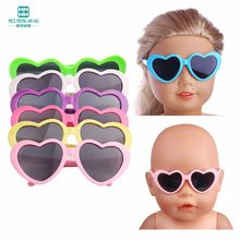 1pcs mini glasses for 43cm new born doll accessories and american doll baby plastic heart flower sunglasses multiple colour(China)