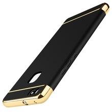Case para huawei p9 lite p8 360 grado de protección bolsa de teléfono case pc cubierta de oro de lujo de la marca mate para huawei p9 lite