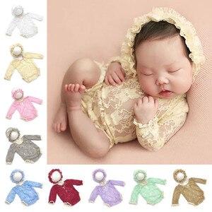 Accessoires de photographie pour nouveau-nés | Vêtements de photographie pour bébés, chapeau en dentelle + barboteuse, ensemble d'accessoires Photo pour bébés filles