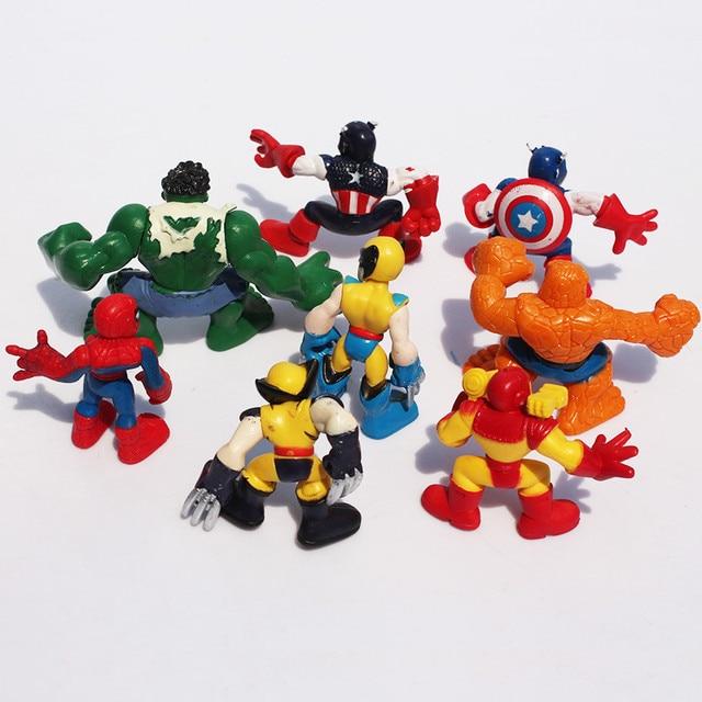 Coleo-8-miniaturas-7cm-pvc-Wolverine-Hulk-capito-america-homem-aranha-e-outros-2