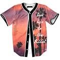 2016 nueva manera del verano parejas camisas 3D hermosa puesta de sol de impresión hombres mujeres gorra de béisbol ocasional camisas de Vivir La Vida Al Máximo