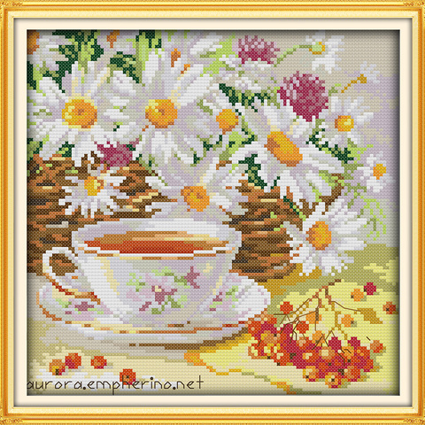 Afternoon tea cross stitch kit flower food still life 18ct 14ct 11ct printed canvas embroidery DIY handmade needlework plus Lahore