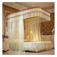 Кровать занавес кружева насекомых кровать с балдахином Canopy дворец Москитная сетка мебель 3 дверь открытой кроватях сетки