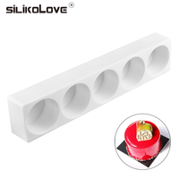SILIKOLOVE 5 Cavitie Round Shaped Muffin Cake Silicone Mousse Pan Mold Non Stick Baking Decoration Tools