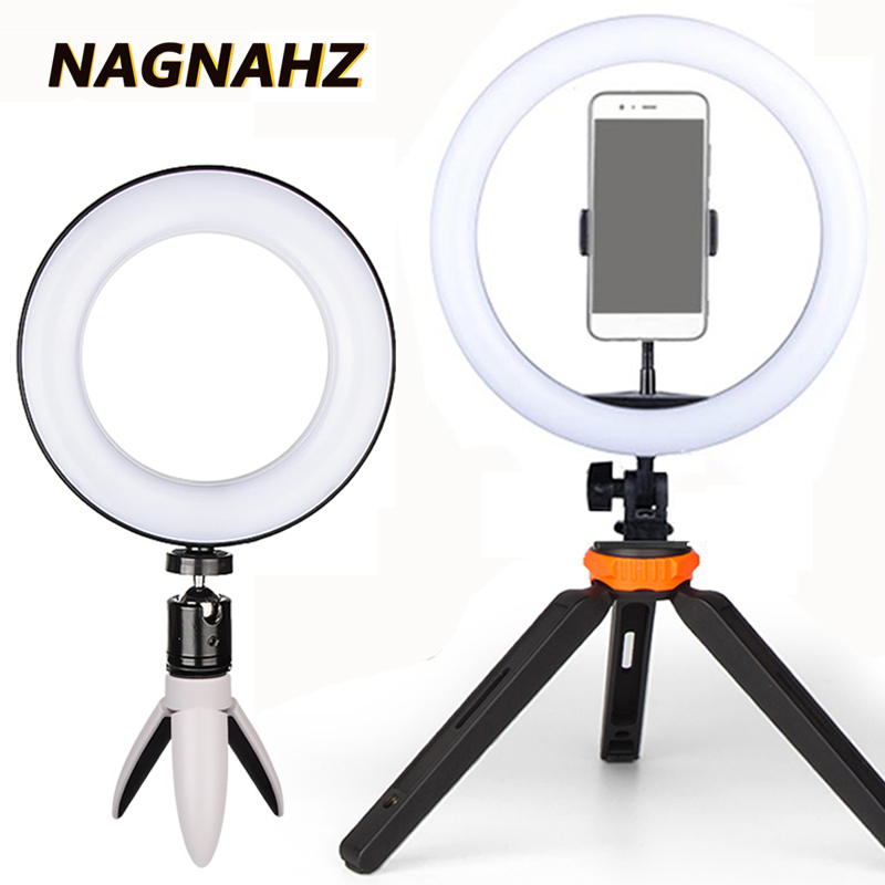 Photography Selfie Ring Lamp with Tripod Stand 16cm/26cm LED Video Ring Light 3200-5500K Dimmable Makeup Photo Studio LightingPhotography Selfie Ring Lamp with Tripod Stand 16cm/26cm LED Video Ring Light 3200-5500K Dimmable Makeup Photo Studio Lighting