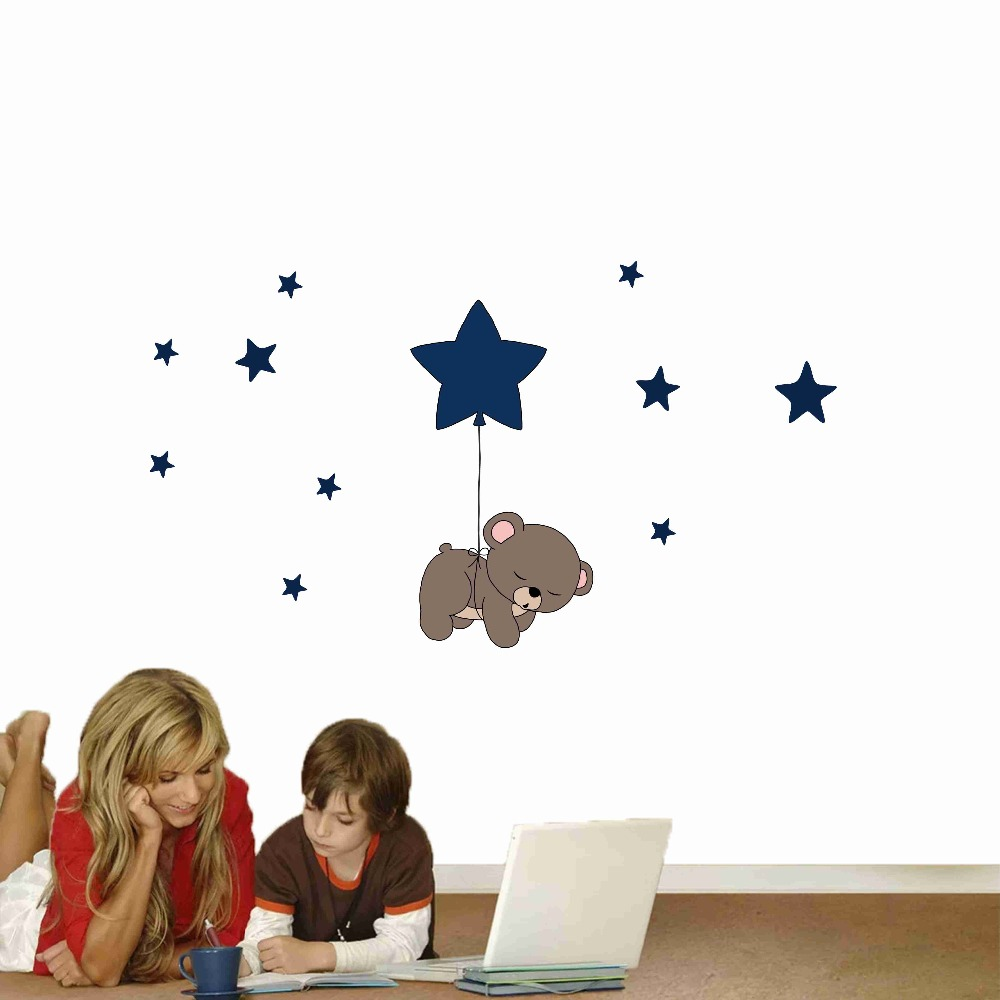 Cute cartoon bear Nursery Wall Stickers funny lovely Animals wallpaper Home Decor for Kids Room Baby room bedroom wallpaper (3)