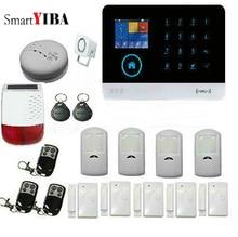 SmartYIBA Smart Home Burglar Alarm WiFi 3G WCDMA Alarm System Sensor Solar Power Siren Spanish Russian Voice Android IOS App