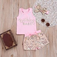 Toddler Girl Clothes Sleeveless Lerrer Top+Short Pant+Haedband Set Infant Baby Girl Cloths Outfit