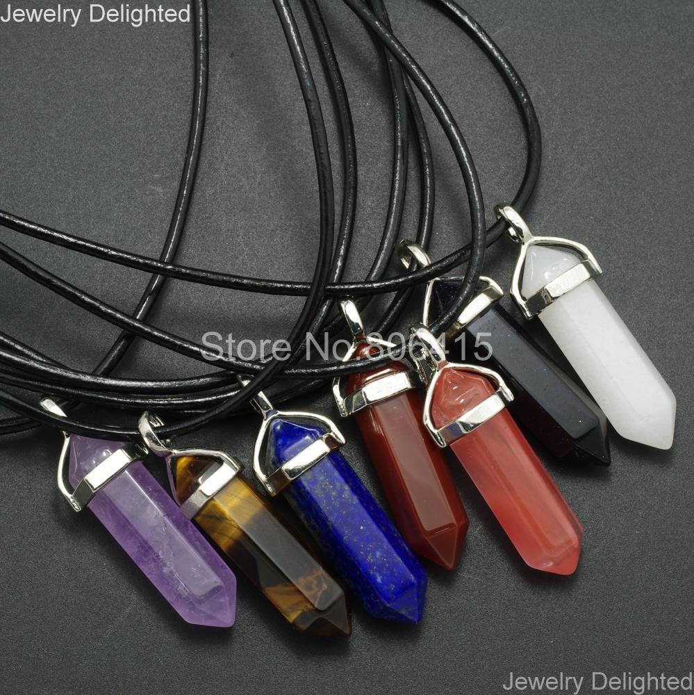 5//10PCS Natural Quartz Crystal Healing Point Chakra Stone Pendant Reiki Necklace