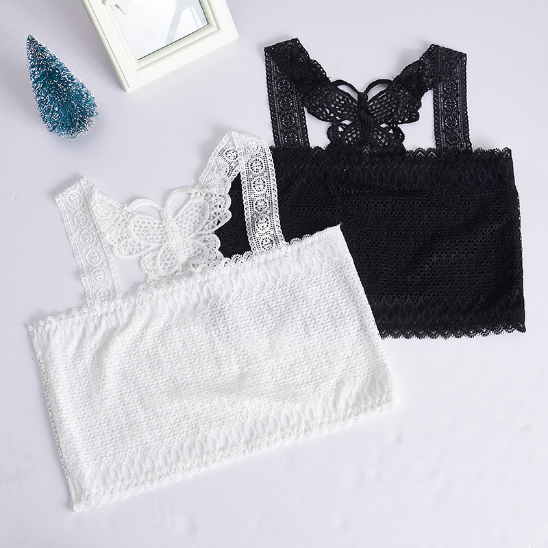 1pc Black Teenage Underwear For Girl Children Girls Bow Lace Wireless Young Training Bra For Kids And Teens Puberty Clothing